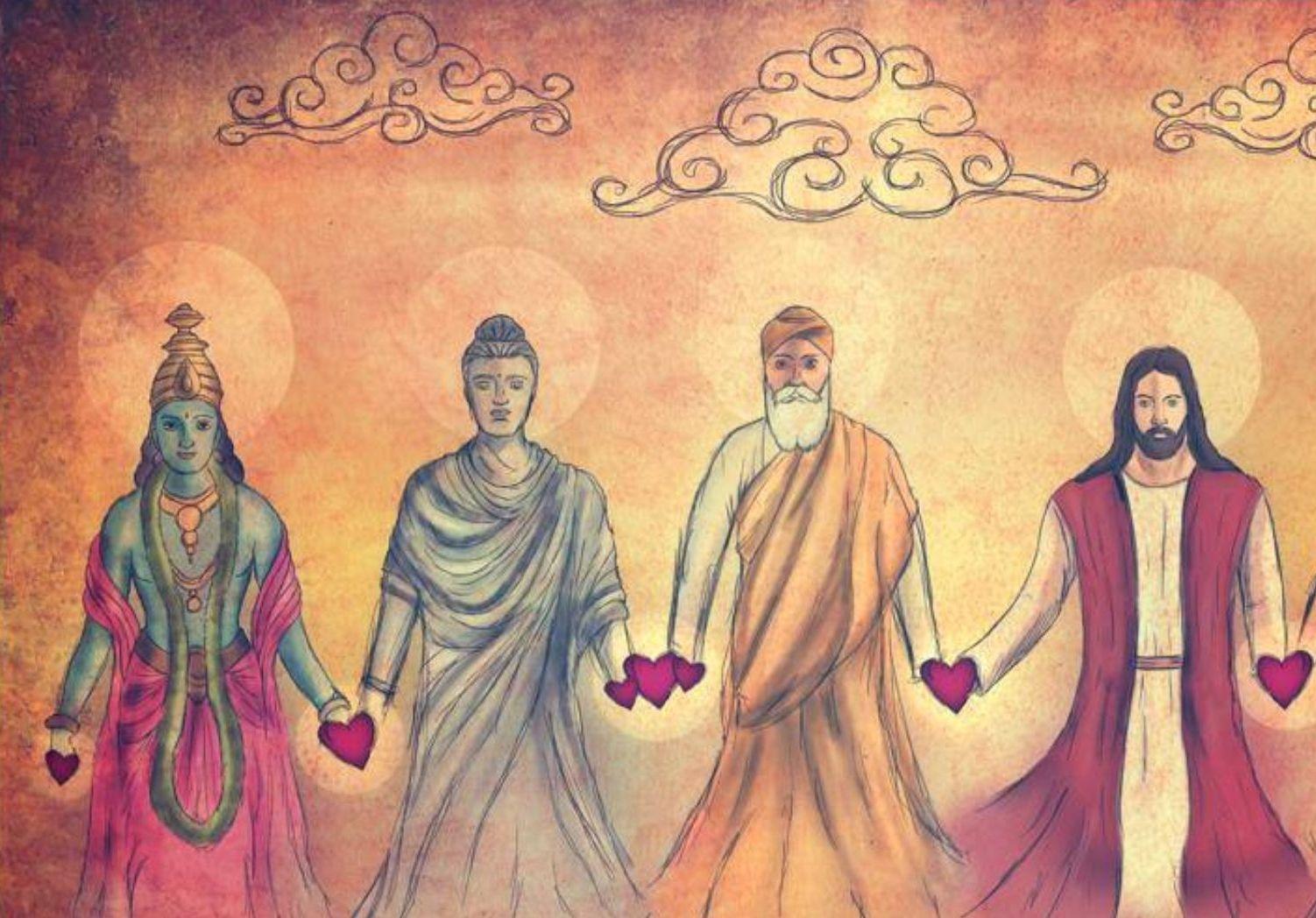 Krisna összebékíti Jézust és Mohamedet